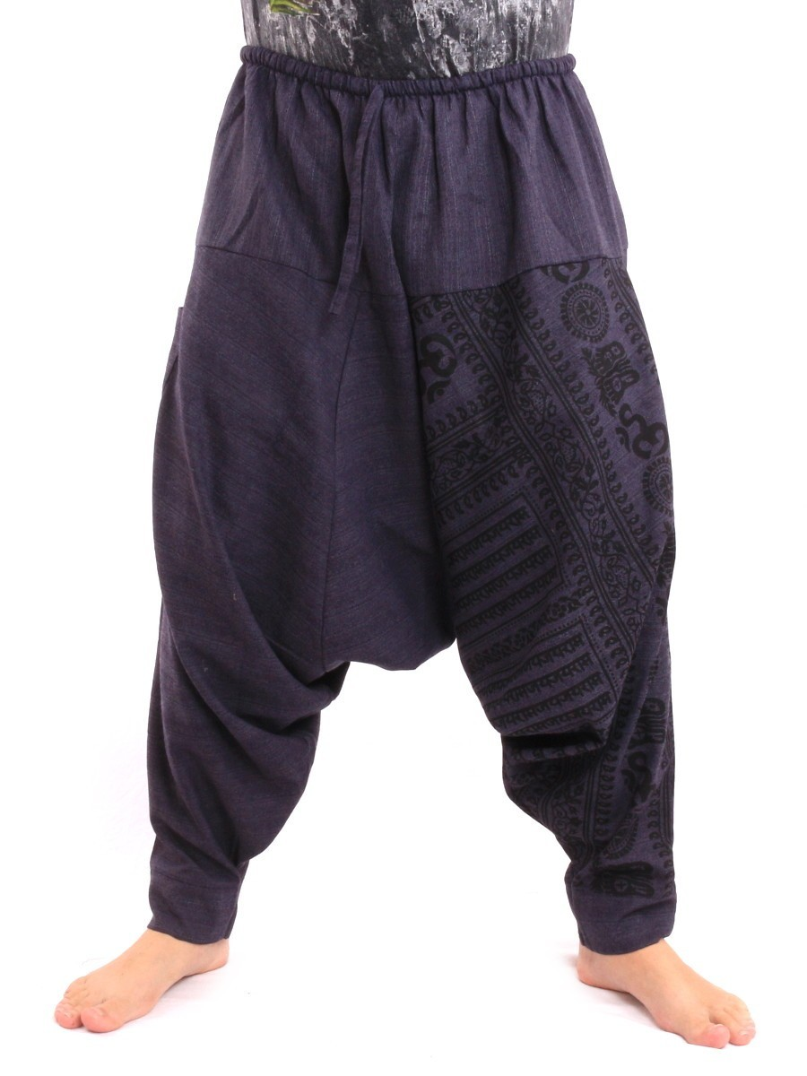 Baggy Aladdin Harem Pants With Sanskrit Symbols Print One Size Blue