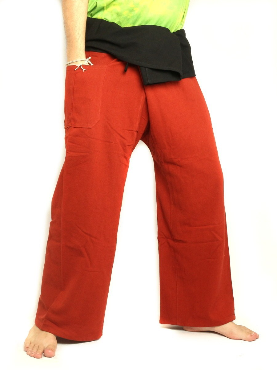 Thai Fisherman Pants Extra Long High Quality Cotton 2 Tone With One Side Pocket Vermilion Red / Black