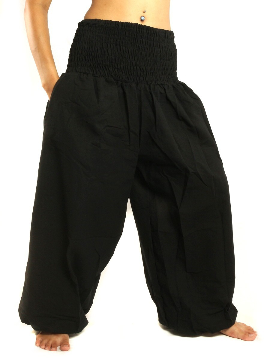 High Cut Harem Baggy Pants With Wide Legs And Smocked Wide Waist Cotton Black