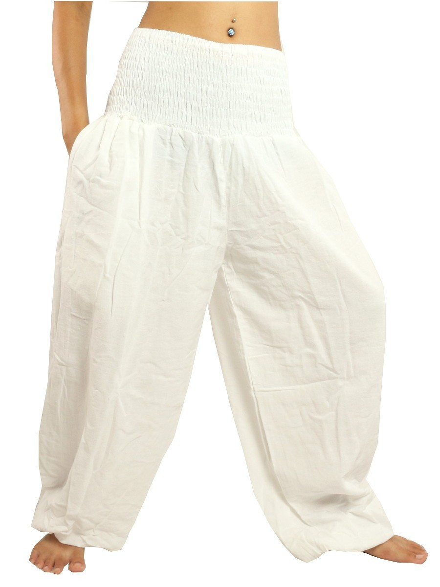 High Cut Harem Baggy Pants With Wide Legs And Smocked Wide Waist Cotton White
