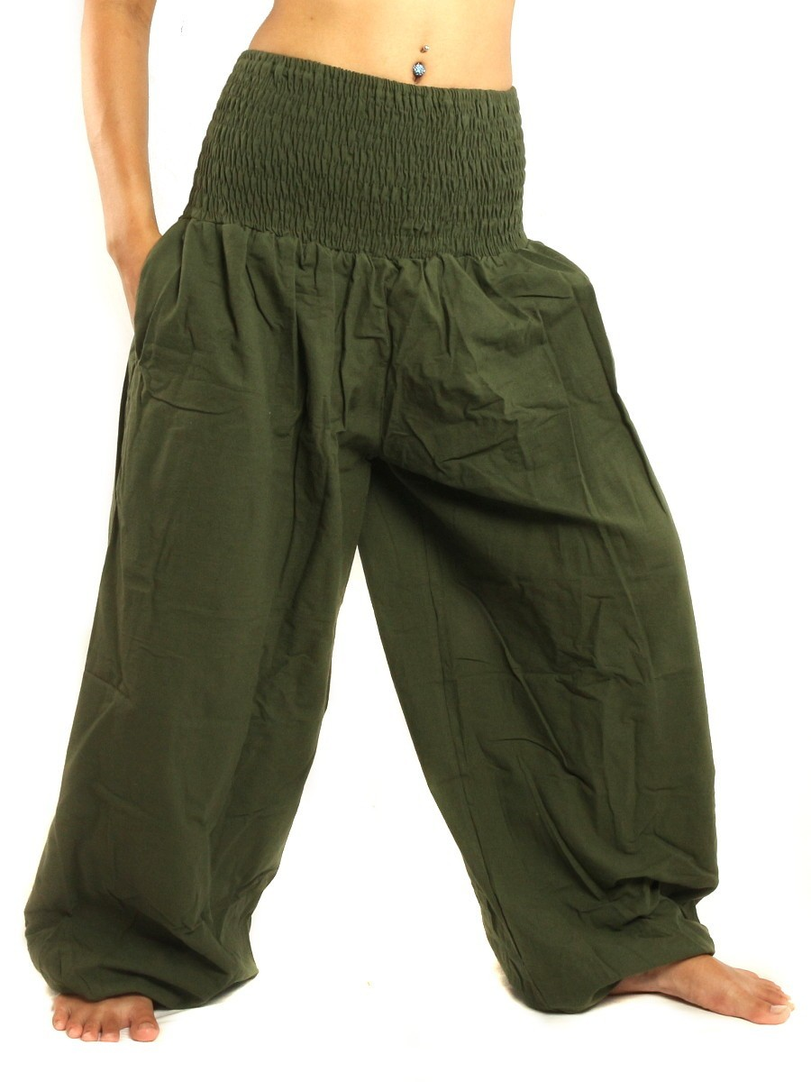High Cut Harem Baggy Pants With Wide Legs And Smocked Wide Waist Cotton Green