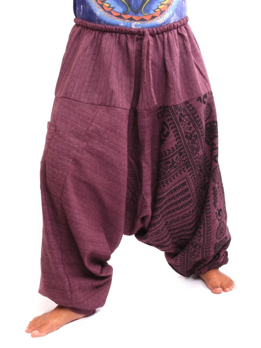 Baggy Aladdin Harem Pants With Sanskrit Symbols Print One Size Purple