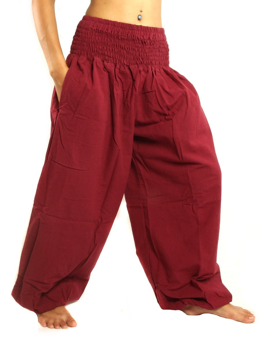 High Cut Harem Baggy Pants With Wide Legs And Smocked Wide Waist Cotton Dark Red