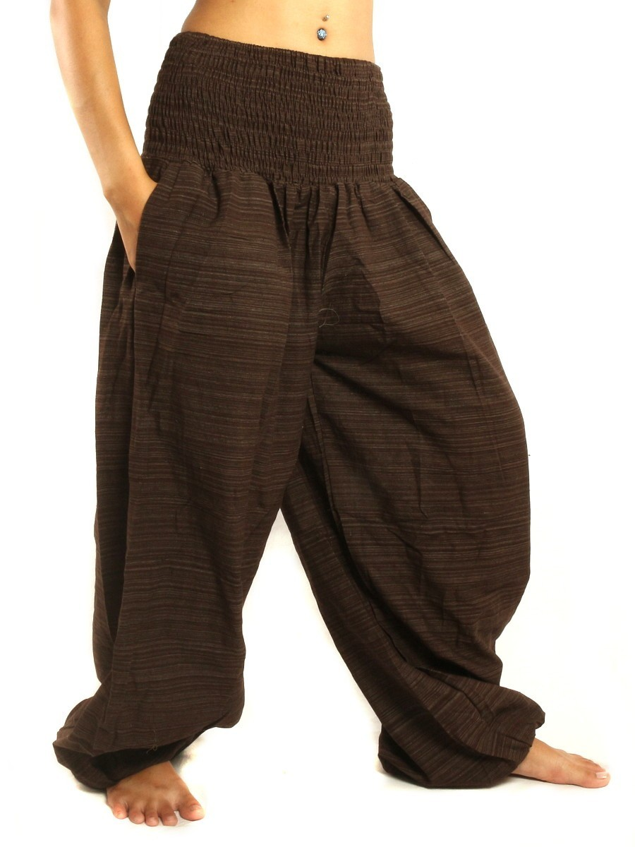 High Cut Harem Baggy Pants With Wide Legs And Smocked Wide Waist Cotton-Mix Brown