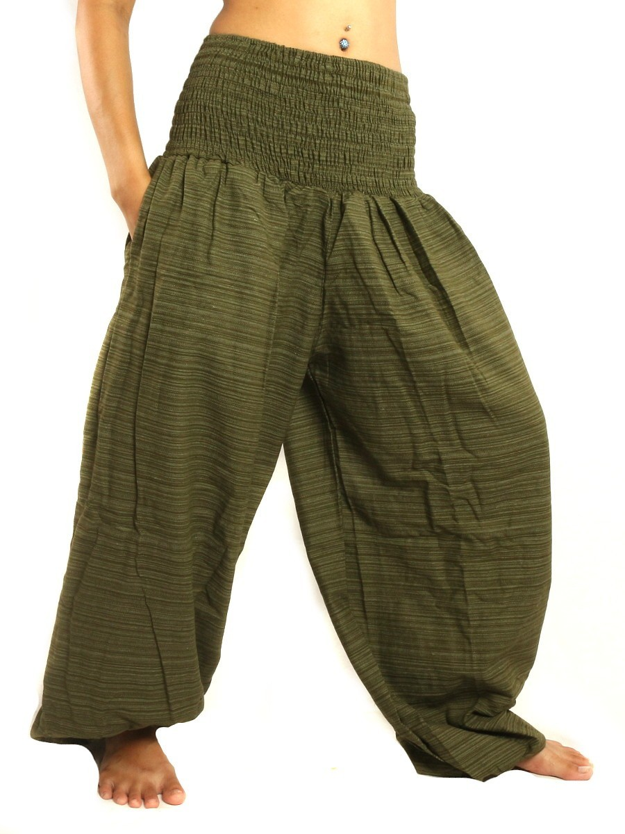 High Cut Harem Baggy Pants With Wide Legs And Smocked Wide Waist Cotton-Mix Green