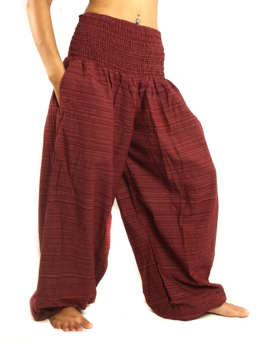 High Cut Harem Baggy Pants With Wide Legs And Smocked Wide Waist Cotton-Mix Dark Red